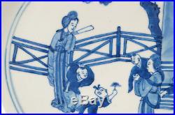 Beautiful Kangxi Chinese Blue & White Women & Children 10 3/4 Plate Circa 1700