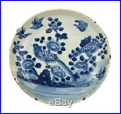 Beautiful Vintage Style Large Blue and White Bird Motif Porcelain Plate 13