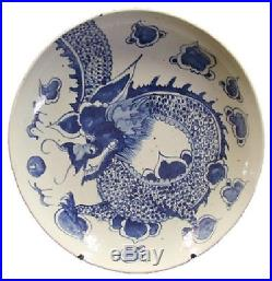 Beautiful Vintage Style Large Blue and White Dragon Motif Porcelain Plate 18 D
