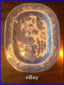 Big Antique Chinese Porcelain Blue White Octagonal Plate 18th Century Marked