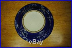 Blue Monochrome Charger With Raised White Floral Decoration 11,5