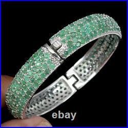 Blue Sapphire Emerald Peridot 14K White Gold Plate 925 Sterling Silver Bangle