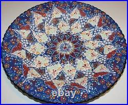 Blue & White 16 Turkish Handpainted Iznik Raised Floral Pattern Ceramic Plate