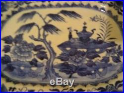 Blue & White Chinese Export Pottery Old Antique Vintage Hand Painted Plate 19th