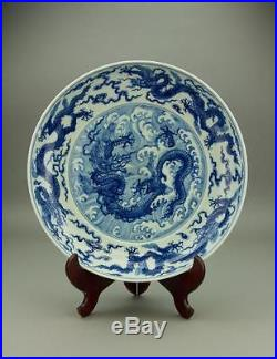 Blue & White Dragon Porcelain Plate Chenghua Mark