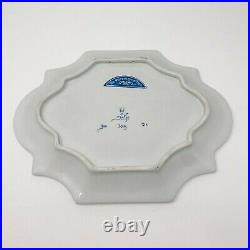 Blue White Vintage DELFT Peacock Floral Wall Plate Rare Free Shipping