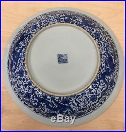 Blue and white 9 dragon plate. Qing Qianlong Mark