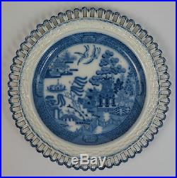 Blue and white willow pattern pearlware arcaded plates c1810 Spode