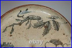 Blue/white aburazara oil plate, deer and tree, Shino ware, Seto, mingei Japan