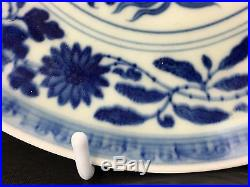 Breath-Taking Antique Chinese Blue & White Porcelain Plate Fine Details