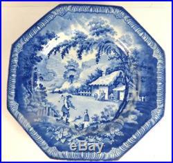 C1820 Set Of 6 Antique Brameld Blue & White Returning Woodsman Octagonal Plates