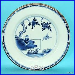 CHINESE EXPORT PORCELAIN 3 ANTIQUE 18thc BLUE WHITE FISHER MEN PLATES NO RESERVE