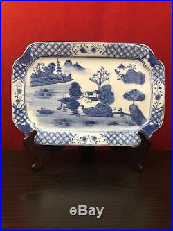 CHINESE Export Blue & White Canton Porcelain 10 3/4 X 7 1/4 Square Plate
