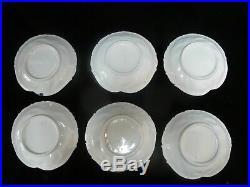 CHINESE Porcelain Cobalt Blue & White LEAF Shape Design Dish Plate Set of 6