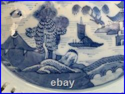 CHINESE vintage BLUE WHITE RETICULATED dish CANTON PORCELAIN chestnut china BOWL