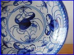 C. 17th Antique Chinese Blue & White Ming Crab Porcelain Plate