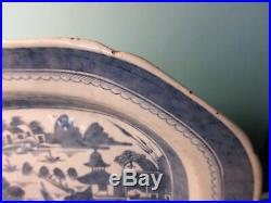C. 1820 Chinese Export China Blue White Canton Platter 13 x 10 Excel. Cond