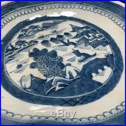 C. 1850 Antique Chinese Export Canton Blue White Shell Shape Shrimp Dish or Plate