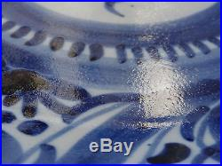 C. 18th Antique Dutch Delft Ware Blue & White Floral Plate Charger