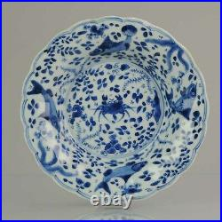 Ca 1700 Kangxi Chinese Porcelain Plate Blue and White Crab and Fish Chi