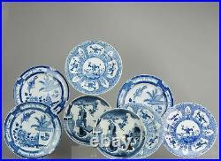 Ca 1900 antique european mosa plate fLowers blue & White Wise Men Child