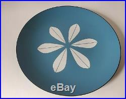 Cathrineholm MCM Enamelware 12 Platter Plate Lotus Design Blue White #1