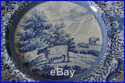 Charming REGENCY PERIOD BLUE & WHITE durham ox plate b