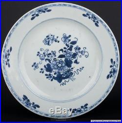 China 18. Jh. Teller Qing A Chinese Blue & White Plate Qianlong Piatto Cinese