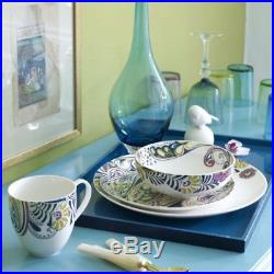 China Dinner Plates Set White Blue Teal Bowls Mugs Family Kitchen Table Service
