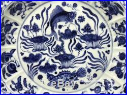 China ancient handmade blue-and-white porcelain cyprinoid plate