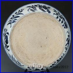 China antique Porcelain Ming xuande blue white hand painting flower plate
