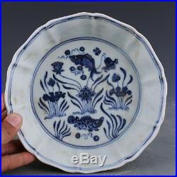 China antique Porcelain Ming xuande blue white painting fish Brush Washers plate
