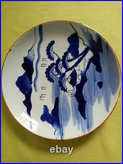 Chinese 18th Century. Large Blue/White Dish Platter with Landscape & Water. Orig
