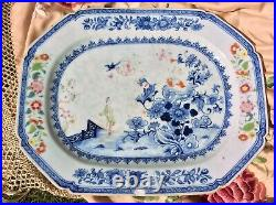 Chinese Antique 18 C Platter Large Plate Qianlong Blue White Polychrome Figures