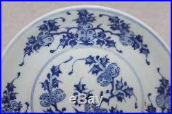 Chinese Blue And White Dish, Finely Decorated With Fruit, Ming Dynasty, Signed