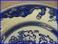 Chinese Blue and White Porcelain Plate, Dragon and Phoenix