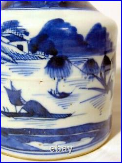 Chinese Canton Export Blue White Porcelain Tobacco Leaf Wine Water Carafe Mallet