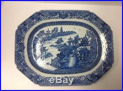 Chinese Export 18th Century Blue White Canton Platter. 16 X 12 3/4