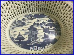 Chinese Export Blue & White Nanking Weave Basket Fine 19th Century