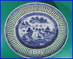 Chinese Export Blue & White Nanking Weave Basket & Under Plate Fine 19th Century