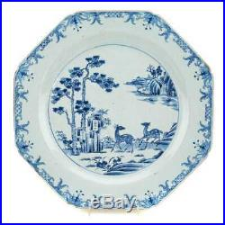 Chinese Export Blue & White Porcelain Octagonal Charger