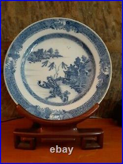 Chinese Export Blue & White Porcelain Plate withStand Ching Dynasty