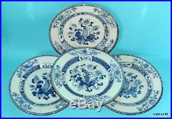 Chinese Export Porcelain Antique Blue White18thc Kangxi Plates No Reserve