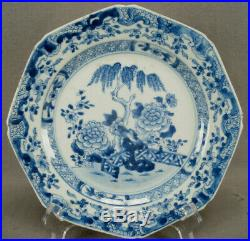Chinese Export Porcelain Qianlong Blue & White Willow Tree & Fence Plate 1760s A
