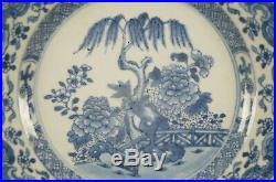 Chinese Export Porcelain Qianlong Blue & White Willow Tree & Fence Plate 1760s B