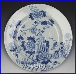 Chinese Kangxi Blue & White Bird & Peony Dish 17/18th C