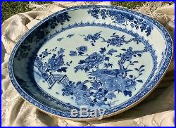 Chinese Large Antique Porcelain 18th C 14 in Qianlong Charger Blue White Birds