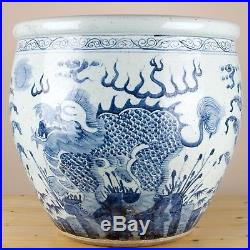 Chinese Large Blue and White Dragons Porcelain Fish Bowl/Planter 22 D