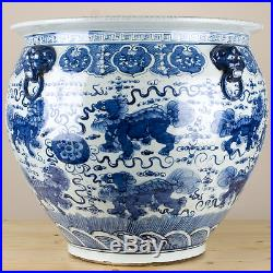 Chinese Large Blue and White Foo Dogs Porcelain Fish Bowl/Planter 22 D