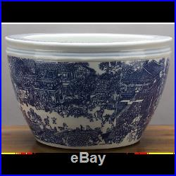 Chinese Large Blue and White Village Chinoiserie Porcelain Bowl/Planter 16 D